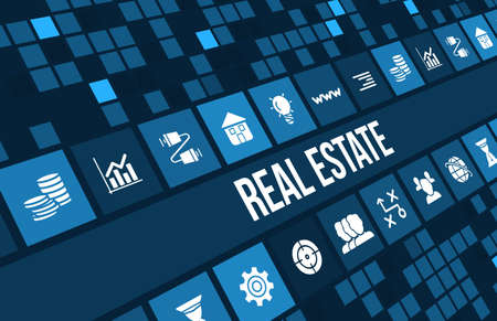 Real estate concept image with business icons and copyspace.