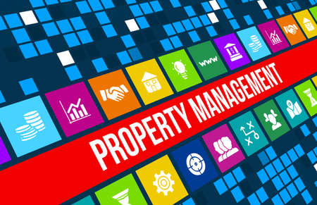Property Management concept image with business icons and copyspace. Archivio Fotografico