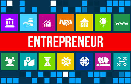 Entrepreneur concept image with business icons and copyspace.