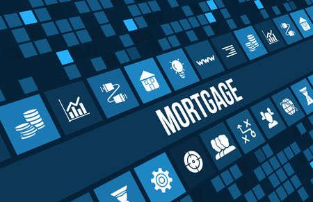 Hypotheek begrip afbeelding met het bedrijfsleven iconen en copyspace.