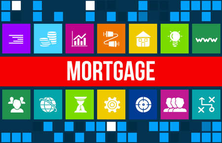 fixed rate: Mortgage concept image with business icons and copyspace. Stock Photo