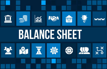data sheet: Balance sheet  concept image with business icons and copyspace. Stock Photo