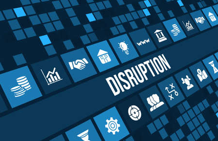 Disruption concept image with business icons and copyspace.