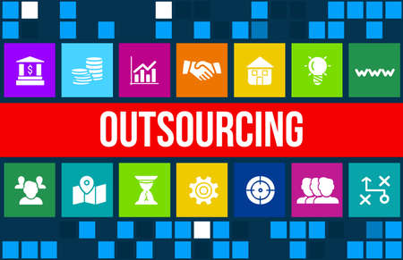 specialize: Outsourcing concept image with business icons and copyspace.