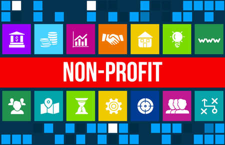 Nonprofit concept image with business icons and copyspace. Stock Photo