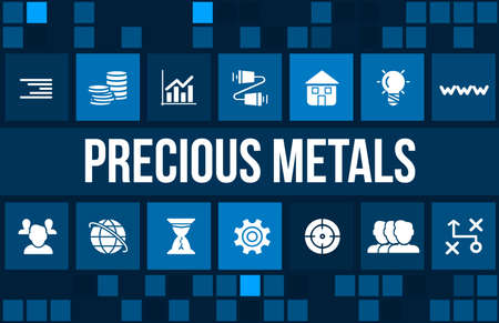 precious metal: Precious metals concept image with business icons and copyspace. Stock Photo