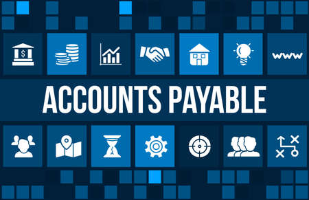 payable: Account payable concept image with business icons and copyspace. Stock Photo