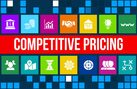 Competitive price concept image with business icons and copyspace.
