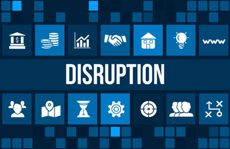disruption: Disruption concept image with business icons and copyspace.