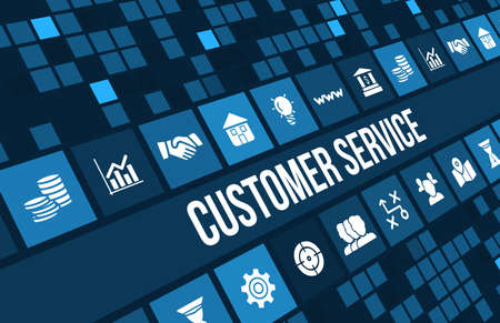Customer service concept image with business icons and copyspace.