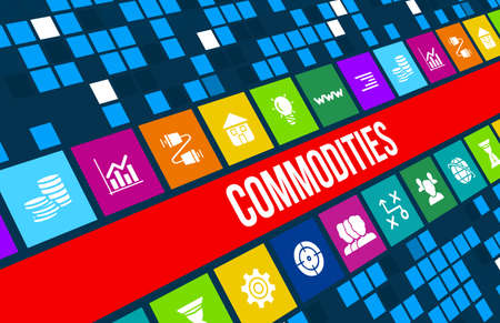 commodities: Commodities concept image with business icons and copyspace.