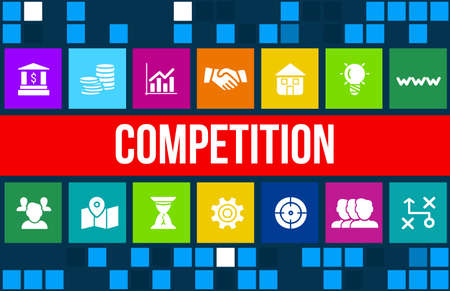 strategic advantage: Competition concept image with business icons and copyspace. Stock Photo