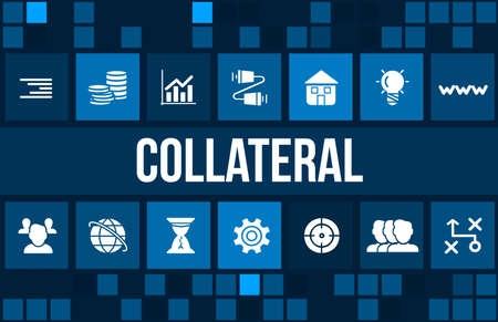 collateral: Collateral concept image with business icons and copyspace.