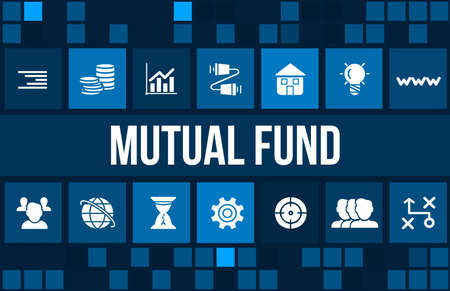 mutual fund: Mutual fund concept image with business icons and copyspace.