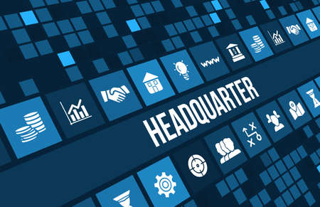 headquarter: Headquarter concept image with business icons and copyspace.