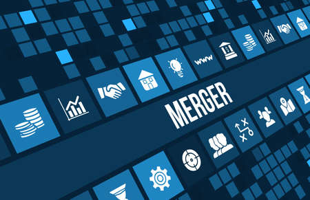 merger: Merger  concept image with business icons and copyspace.