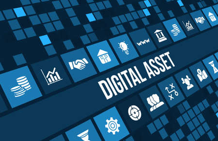 Digital asset concept image with business icons and copyspace.