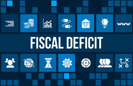 budget crisis: Fiscal deficit concept image with business icons and copyspace.