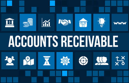Account receivable concept image with business icons and copyspace. Archivio Fotografico
