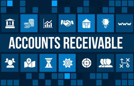 Account receivable concept image with business icons and copyspace. Foto de archivo