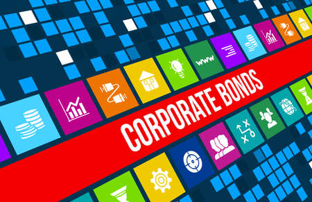 Corporate Bonds concept image with business icons and copyspace.