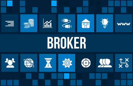 brokers: Broker concept image with business icons and copyspace. Stock Photo