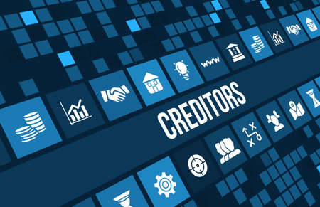 payable: Creditors concept image with business icons and copyspace. Stock Photo