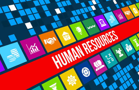 Human resources concept image with business icons and copyspace. Archivio Fotografico