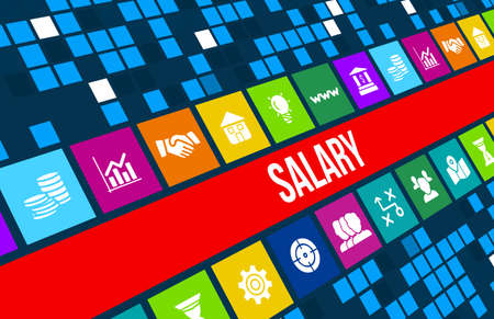 monthly salary: Salary concept image with business icons and copyspace.