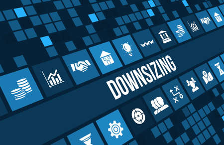 Downsizing concept image with business icons and copyspace.