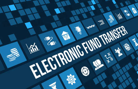 electronic banking: Electronic fund transfer concept image with business icons and copyspace.