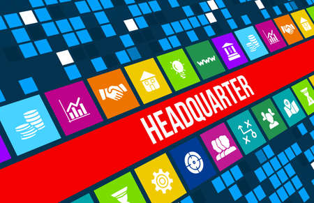 quartier g�n�ral: Headquarter concept image with business icons and copyspace.