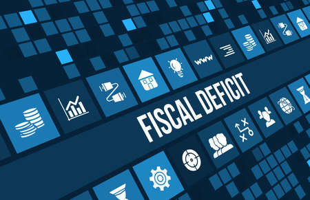 financial cliff: Fiscal deficit concept image with business icons and copyspace.