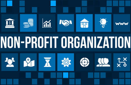 non profit: Non-profit organization  concept image with business icons and copyspace.
