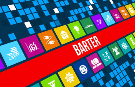 Barter concept image with business icons and copyspace.