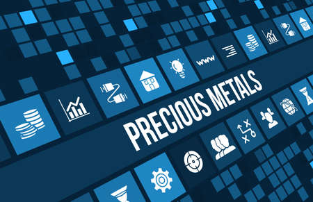 Precious metals concept image with business icons and copyspace. Stock Photo