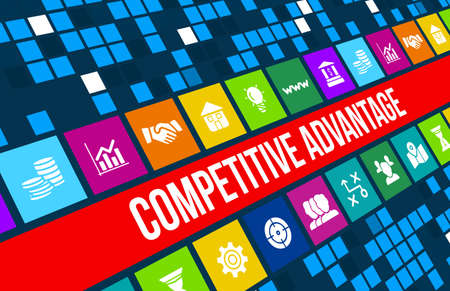 competition success: Competitive advantage concept image with business icons and copyspace.