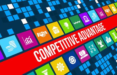 competencia: Imagen del concepto Ventaja competitiva con iconos de negocios y copyspace. Foto de archivo
