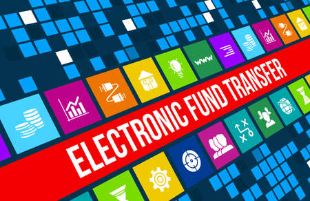 Electronic fund transfer concept image with business icons and copyspace.