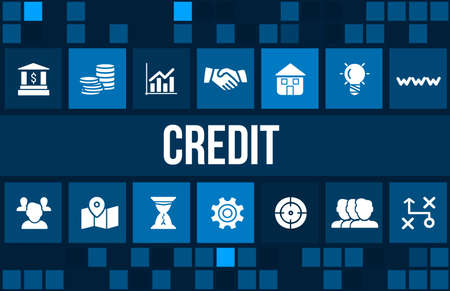 creditworthiness: Credit  concept image with business icons and copyspace.