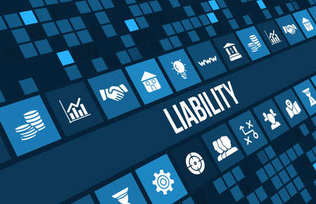 liability concept image with business icons and copyspace. Stok Fotoğraf