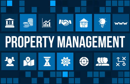 Property Management concept image with business icons and copyspace. Standard-Bild