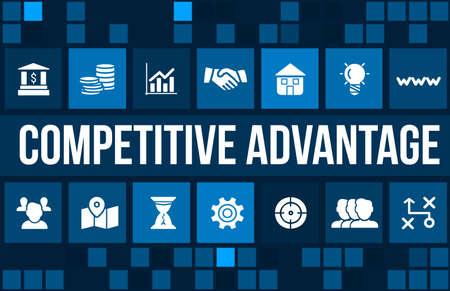 dominacion: Imagen del concepto Ventaja competitiva con iconos de negocios y copyspace. Foto de archivo