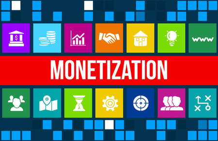 Monetization concept image with business icons and copyspace.