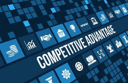 competitive: Competitive advantage concept image with business icons and copyspace.