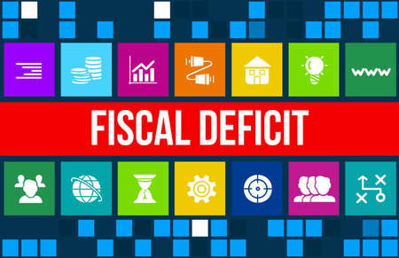 fiscal: Fiscal deficit concept image with business icons and copyspace.