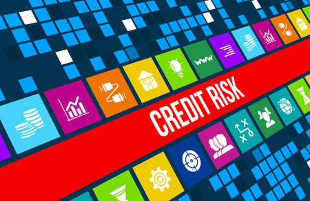 credit risk: Credit Risk  concept image with business icons and copyspace. Stock Photo