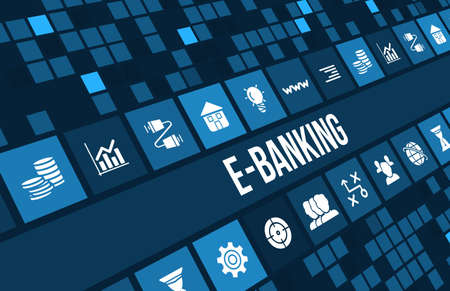 E-banking concept image with business icons and copyspace. Archivio Fotografico