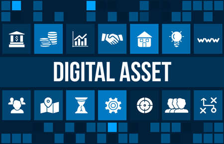 financial stability: Digital asset concept image with business icons and copyspace.