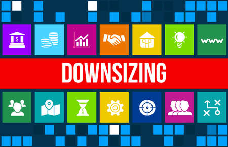 downsizing: Downsizing concept image with business icons and copyspace.